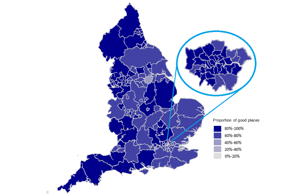 Map showing the percentage of places in primary schools which Ofsted has rated 'good' or 'outstanding', by local authority