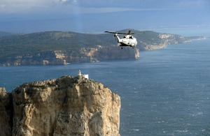 A Merlin helicopter from 820 Naval Air Squadron