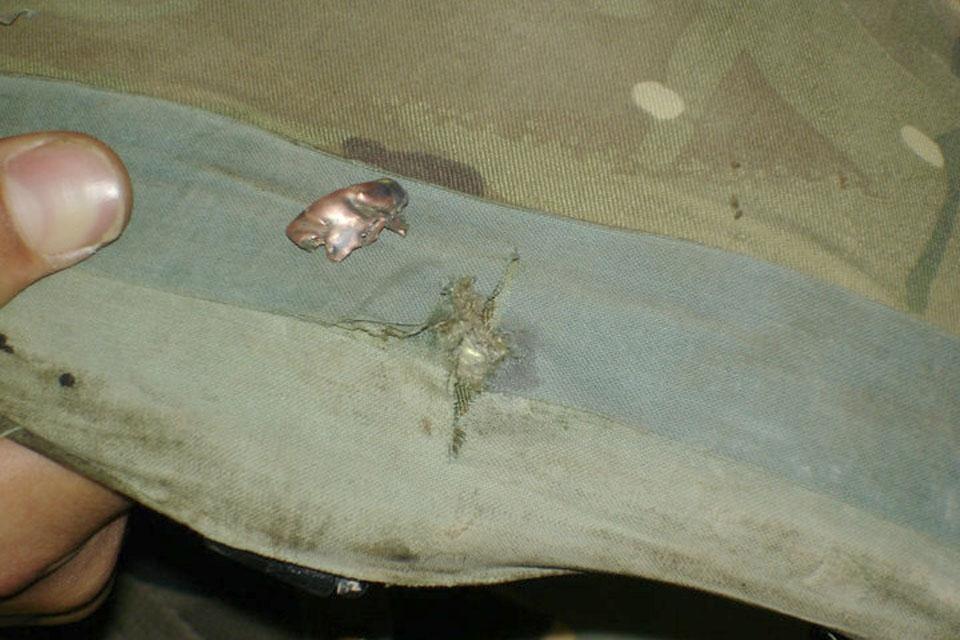 Lieutenant Anrude's damaged helmet