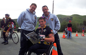 Left to right: Marine Earl James, Marine Joe Townsend and Corporal John Davis at Camp Pendleton in San Diego