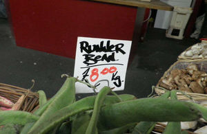 Runner beans label which should include country of origin.
