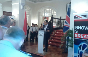 UK Transport Minister Lord Ahmad opening the Singapore Airshow reception at Eden Hall, British High Commission in Singapore.