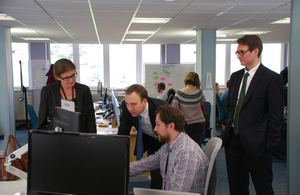 Minister for Cabinet Officer, Matt Hancock, meeting people on his visit to South Wales