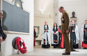 The Duke of Kent lays a wreath in St Paul's Cathedral for the 25th anniversary of the Gulf War