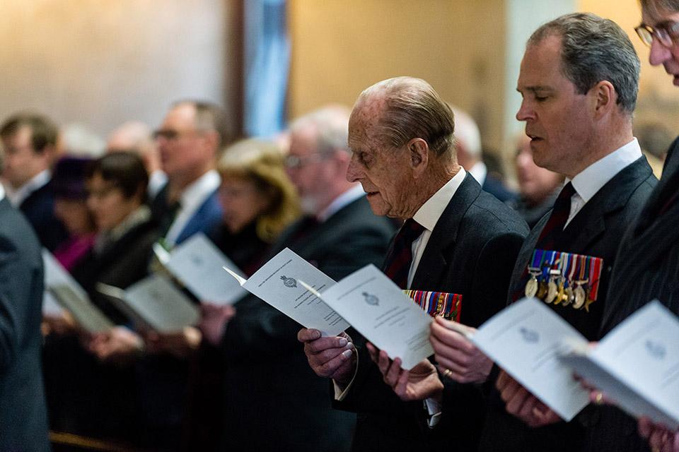 The Duke of Edinburgh attending a service at Wellington Barracks