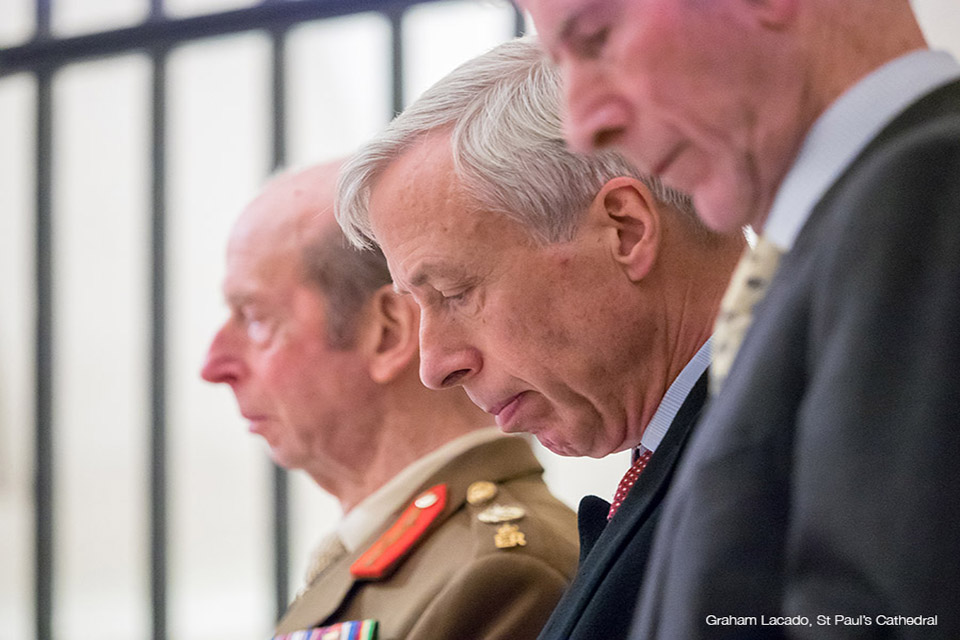The Duke of Kent and Lord Howe at the St Paul's Cathedral service