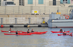 Injured Royal Marines kayaking in Gibraltar as part of their rehabilitation