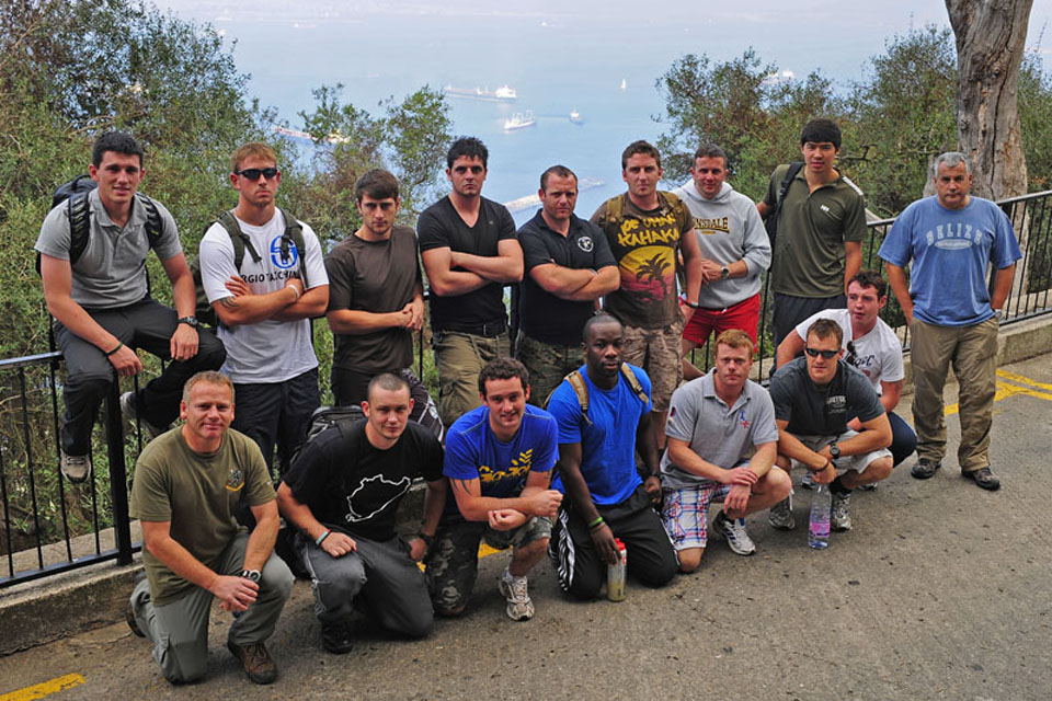 The Royal Marines of Termoli Troop, 40 Commando, pictured on the Rock of Gibraltar during a rehabilitation break