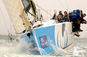 The Army Sailing Association yacht, 'British Soldier', operated by the sailing rehabilitation charity 'Toe in the Water' and crewed by injured Service personnel from Headley Court, competing at Cowes Week