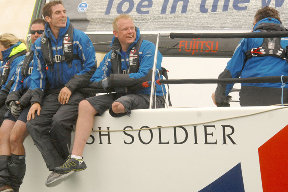 Private Dean Caudley (centre), who lost his left leg in a roadside bomb incident in Afghanistan, competing at Cowes Week aboard the Army Sailing Association yacht, 'British Soldier'