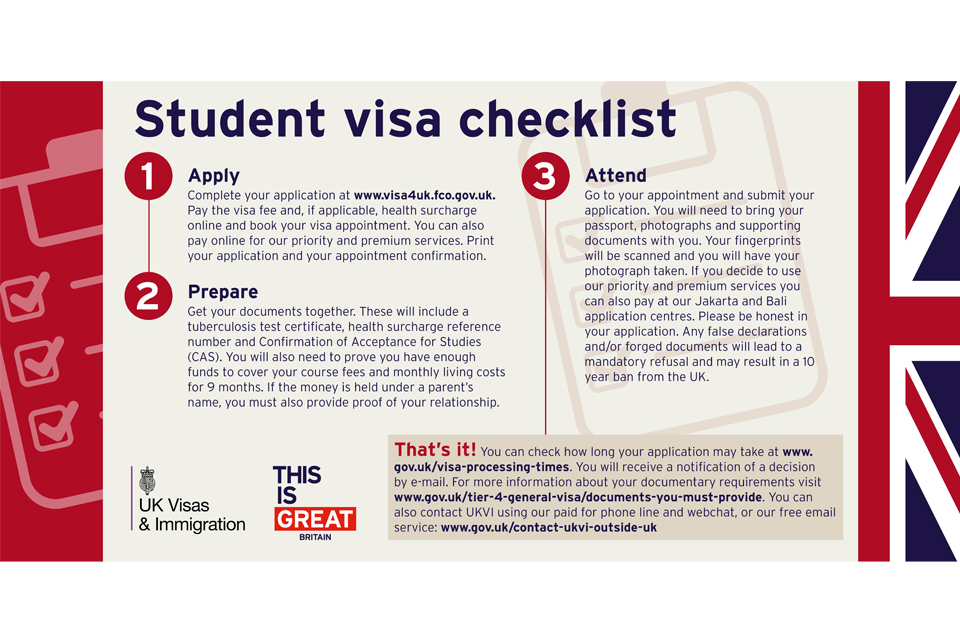 Tier 4 student visa checklist - GOV UK