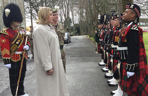 Armed Forces Minister Penny Mordaunt visiting Glencorse barracks. Crown Copyright.