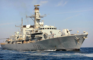 Royal Navy Type 23 frigate HMS Monmouth in the Gulf (stock image)