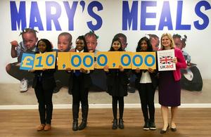International Development Secretary Justine Greening meeting Scottish schoolchildren at Mary's Meals in Glasgow. Picture: Christy McCurdy/DFID