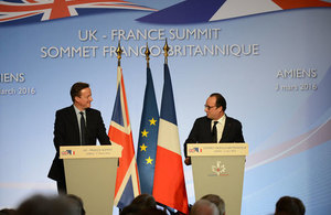 Prime Minister and President Hollande speaking at the UK-France Summit 2016.