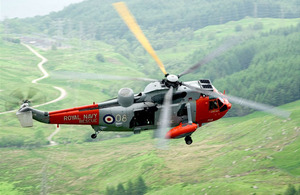 A Search and Rescue Sea King helicopter from HMS Gannet