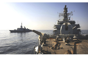 Royal Navy frigate HMS Monmouth and French frigate FS La Fayette conduct maritime security operations in the Gulf (stock image)