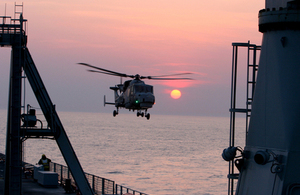 Wildcat helicopter lands on RFA Mounts Bay