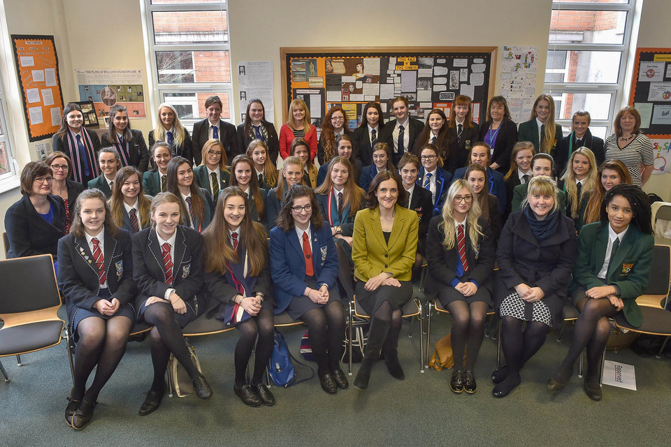 The Secretary of State spoke to 6th Form students from Sullivan Upper, Ashfield Girls, Strathearn, Glenlola, Priory College, Lagan College and St. Columbanus.
