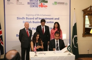 British Business Centre and Sindh Board of Investment sign MoU