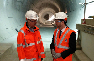 Terry Morgan of Crossrail and Secretary of State for Wales Stephen Crabb view tunnelling work at Paddington Station