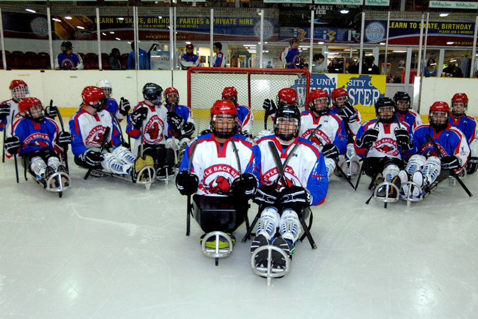The Battle Back Bisons ice sledge hockey team at the Planet Ice Arena in Basingstoke