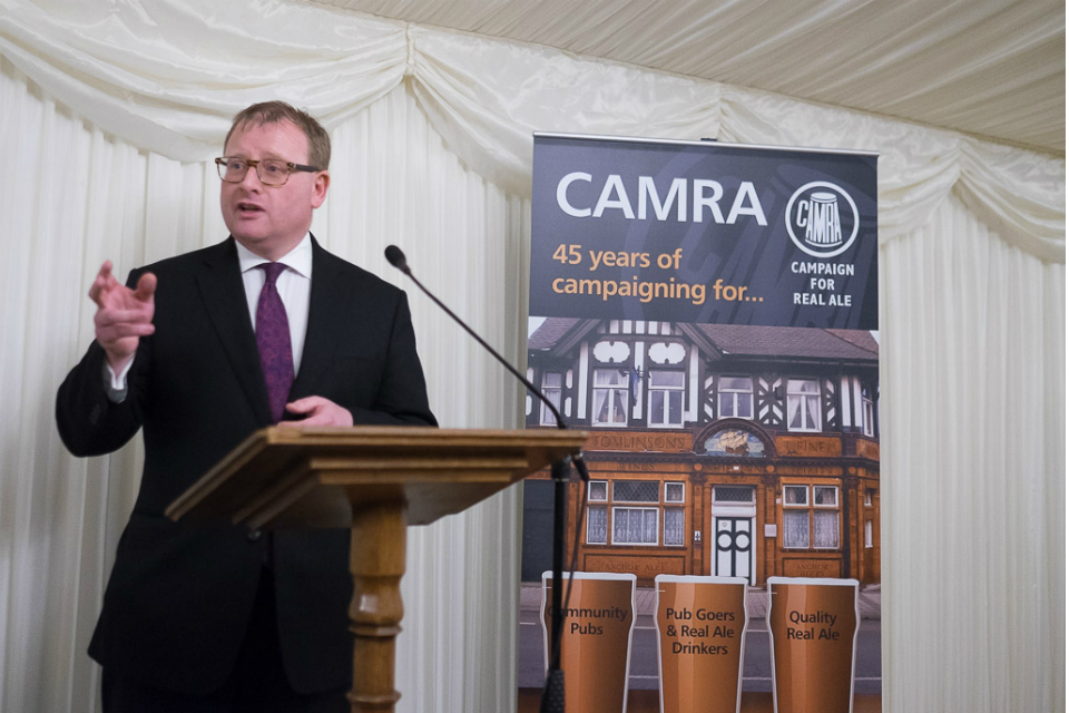 Community Pubs Minister Marcus Jones speaking at the Campaign For Real Ale Parliamentary reception