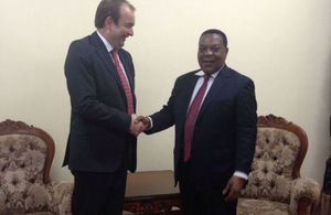 UK Minister for Africa, Mr. James Duddridge with Tanzania Minister for Foreign Affairs, Amb. Augustino Mahiga