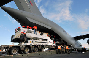Submarine Rescue System being loaded onto a C-17 Globemaster