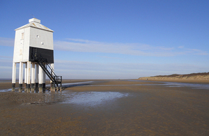 The low lighthouse at Burnham-on-Sea in Somerset which is a popular attraction on the coast path