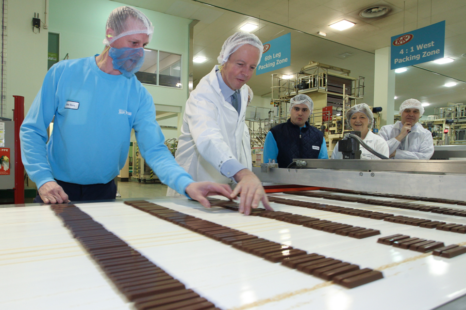 Skills Minister Nick Boles during a tour of the Nestle KitKat factory in York