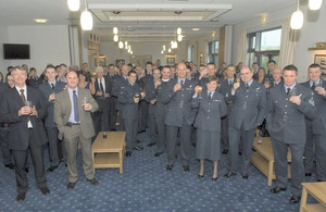Toasting the new mess facility at RAF Valley