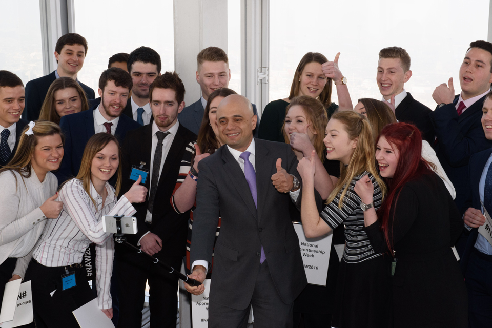 Business Secretary Sajid Javid at National Apprenticeship Week launch event, London's Shard