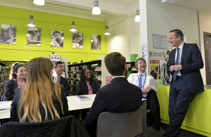 Prime Minister talking with students and staff at the Harris Academy Bermondsey, London.