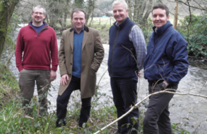 Minister Eustice with representatives of the Rivers Trust at the River Fowey