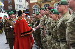Soldiers from 4 Military Intelligence Battalion being inspected by the Mayor of Marlborough, Councillor Alexander Kirk Wilson, in the grounds of Marlborough College