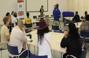 Namibian media listening to the UK High Commissioner explaining the focus of the British High Commission