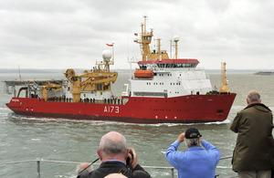 MV Polarbjorn enters Portsmouth Naval Base