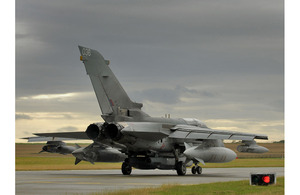 A Tornado GR4 aircraft prepares to leave RAF Marham in Norfolk on a mission over Libya