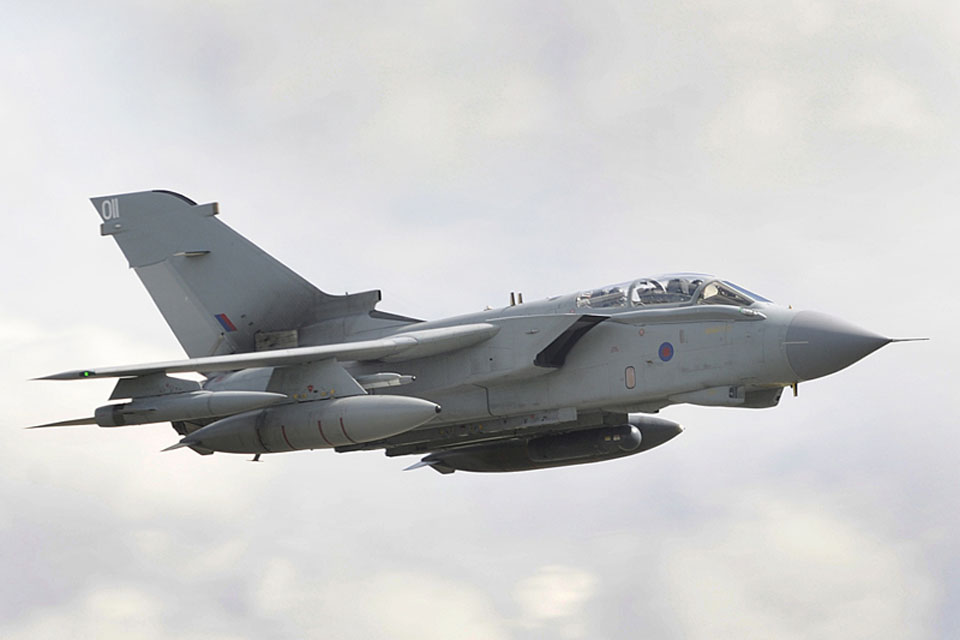 A Tornado GR4 aircraft en route to North Africa from RAF Marham in the UK, an eight-hour round trip, for a mission over Libya