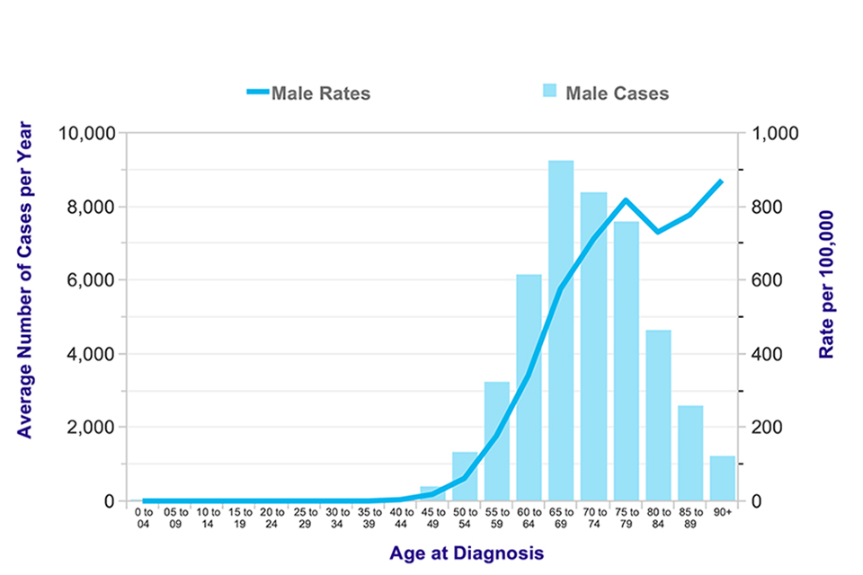 Figure 1. Average number of new cases of prostate cancer per year and age-specific incidence rates for men in the UK, 2011-2013