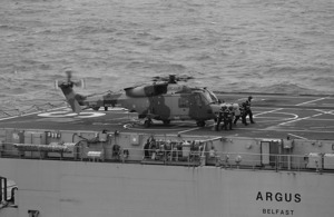 The first deck landing of a Royal Navy Wildcat helicopter
