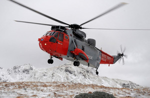 A Royal Navy Sea King Search and Rescue helicopter from HMS Gannet