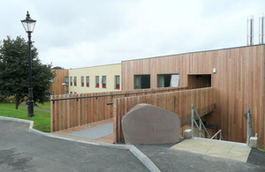 The entrance to the new sixth form accommodation block
