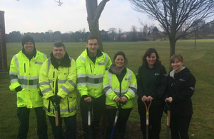 The Environment Agency team that joined Birmingham City Council, Birmingham Trees for Life and schoolchildren to plant 280 trees at Perry Hall playing fields in Perry Barr, Birmingham.