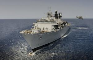 HMS Bulwark in the Mediterranean Sea. Crown Copyright.