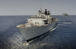 HMS Bulwark in the Mediterranean Sea. Crown Copyright.