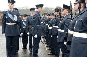 Station Commander of RAF High Wycombe inspects the new recruits