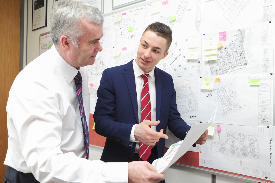 Lancashire apprentice Ben Finch and construction director Keith Collard of Redrow Homes