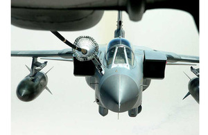 A 908th Expeditionary Air Refueling Squadron KC-10 Extender refuelling a Royal Air Force Tornado GR4 (stock image)